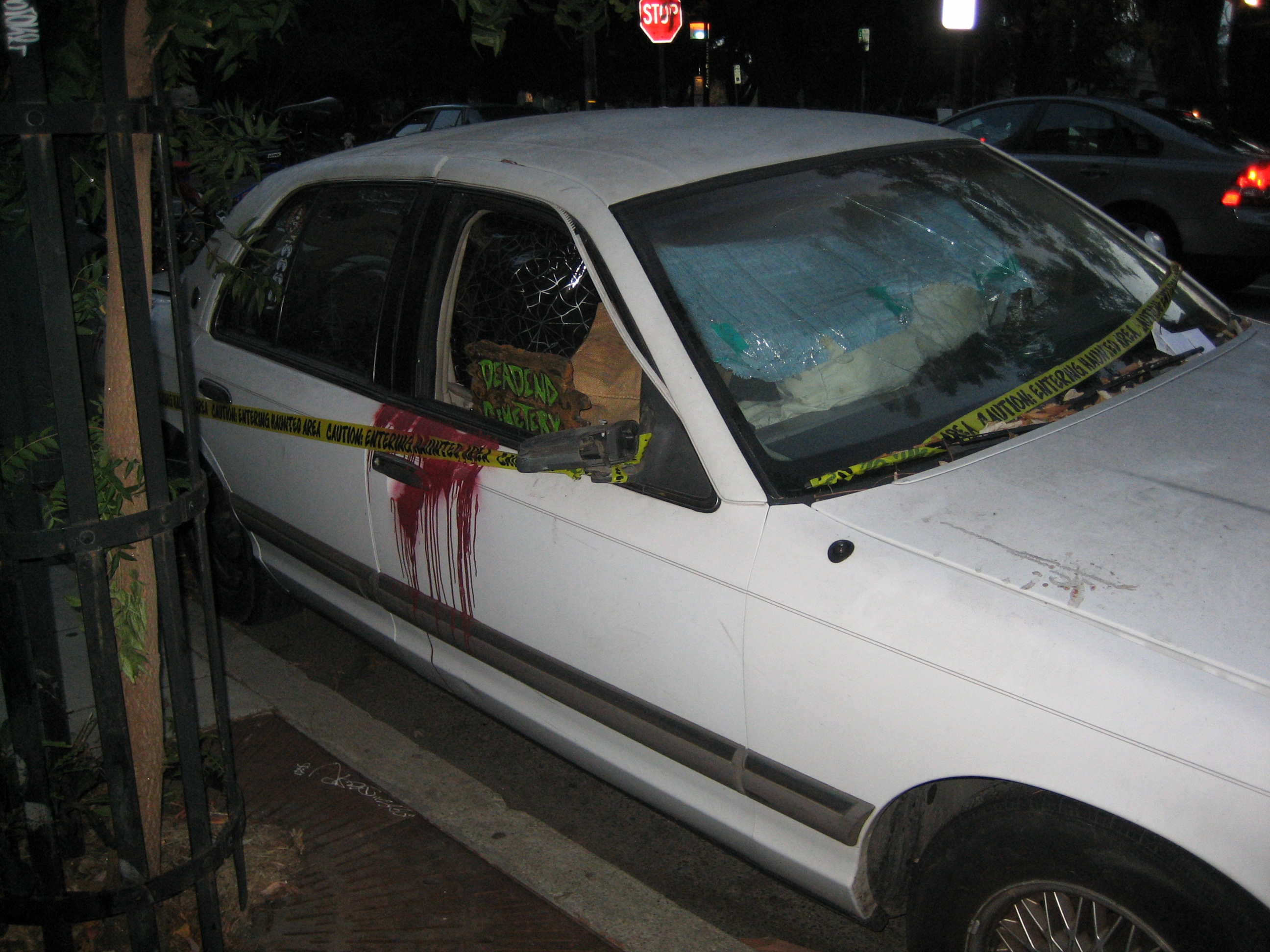 Haunted car on Bowditch, next to Crossroads