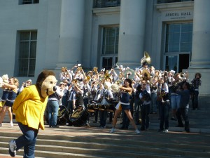 The Cal Straw Hat Band and Cal Dance kicked off Tuesday's rally, with Oski sauntering in and out of the action as usual.
