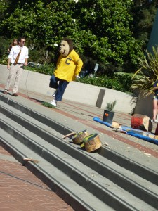 Our own mascot decided to rub salt in the plant's wounds by stomping on it. Good spirit, Oski!