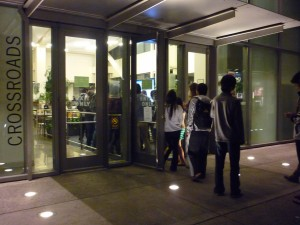 A lucky few get to hold the door as the line at Crossroads leads outside most nights after 10 p.m.