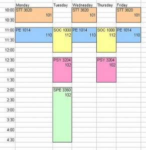 making a college schedule
